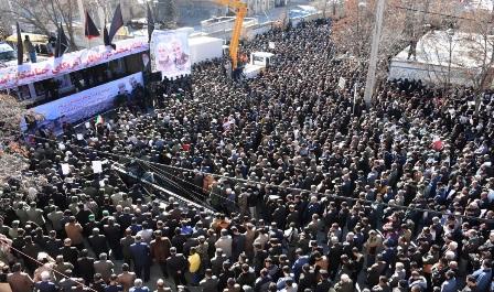 تجدید پیمان مردم یاسوج با رهبر معظم انقلاب/ طنین فریاد انتقام در فراق سردار دلها+ تصاویر